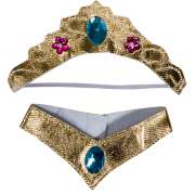 Gold Jeweled Crown and Collar Set 2